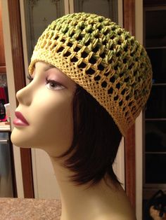 Skullcap, COTTON, Lemon Yellow and Lime Green Mix , Mesh perfect for Summer on Etsy, $18.00