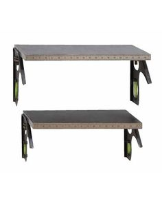 Tape Measure Designed Black Wall Shelf Duo features a tape measure in front for easy measurement, or just for a unique decor item. Supporting underneath the shelf are two angled bubble levelers to fully complete the look. Perfect as a gift for a dorm or for the work area in the garage, these shelves work on all levels, for practical use and for practical looks.