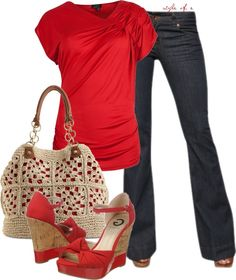 For Me: LOVE this red outfit but, the no bootlegged jeans. The heels I love but are too high for my comfort to walk in. Mode Outfits, Jean Outfits, Casual Outfits, Fashion Outfits, Womens Fashion, Traje Casual, Look Plus Size, Pulls, Look Fashion