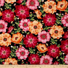 Botanical Blooms Anemones Black from @fabricdotcom Designed by Color Principle for Henry Glass & Co., this cotton print fabric is perfect for apparel, quilting, and home decor accents. Colors include shades of pink, hibiscus, coral, peach, yellow, shades of green, red, black, and white.