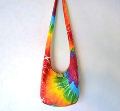 Tie Dye Hobo Bag Sling Bag Bright Colorful by 2LeftHandz on Etsy, $33.00