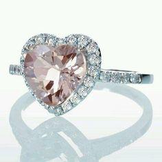 Morganite ring heart cut dainty morganite and halo engagement ring Heart Shaped Diamond Ring, Diamond Solitaire Rings, Diamond Engagement Rings, Heart Ring, Morganite Engagement, Gold Heart, Halo Engagement, Morganite Ring, Color Rosa