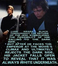 Normally I don't like color symbolism- it almost always comes across as forced and hamfisted- but I think RotJ did a good job with subtlety on this.