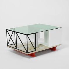 JONAH TAKAGI coffee table in GREEN GLASS, CORIAN, STEEL, PINE, ALUMINUM, CONCRETE