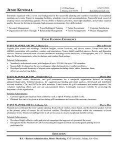 event planner resume | Event Planner Resume: Career transition ...
