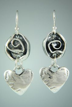 "12st 540wire - Sterling Silver 1/2"" Rose with Heart Dangle on Silver Ear Wires. Also Available with 14k Gold Posts (12st 540post)."