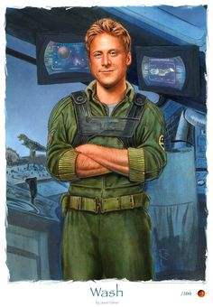 """Hoban Washburn: Serenity's pilot and Zoe's husband. Deeply in love with his wife, Wash is jealous Zoe's """"war buddy"""" relationship and unconditional support of their captain. He joined pilot training just to see the stars, which were invisible from the surface of his polluted homeworld.  He is very light-hearted and tends to make amusing comments, despite the severity of any situation."""