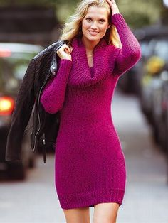 Chilly-day chic. This Multi-way Sweaterdress from Victoria's Secret makes the most of the season. Wear the knit collar three ways—off-the-shoulder, cowlneck or hooded—for maximum style mileage. Knit in marled yarn for texture, in a shift.