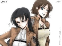 Shingeki no kyojin eren x levi #genderbend