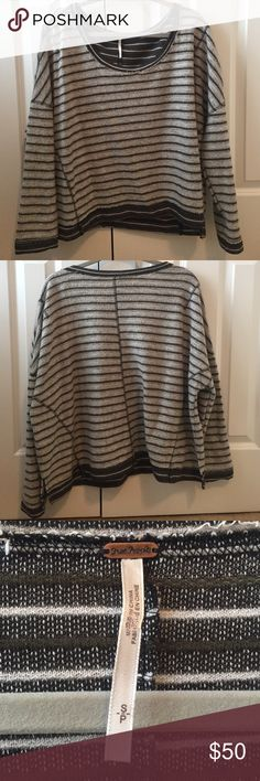 Free People Sweater Free People soft green striped sweater. Only worn once, perfect condition. Size-small color- green/white striped Free People Sweaters Crew & Scoop Necks