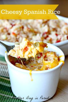 Cheesy Spanish Rice- YUM!  I loved this as a side dish, and for lunch leftovers the next day.  Will definitely be making this many more times!