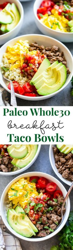 These Loaded Breakfast Taco Bowls Are A Fun Breakfast Idea And Great For Dinner Too Theyre Easy To Prep Ahead Of Time, Just Make Sure You Leave Out The Avocado Until Youre Ready To Serve. Gluten-Free, Paleo, Compliant, And Keto Diet Friendly. Chicken Breakfast, Whole 30 Breakfast, Breakfast Tacos, Paleo Breakfast, Breakfast Bowls, Mexican Breakfast, Breakfast Sandwiches, Avacado Breakfast, Breakfast Ideas