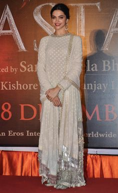 Deepika Padukone in Sabyasachi Pakistani Dress Design, Pakistani Dresses, Indian Dresses, Indian Wedding Outfits, Indian Outfits, India Fashion, Asian Fashion, Anarkali Dress, White Anarkali
