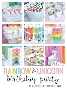 rainbow unicorn birthday party // craftiness is not optional Rainbow Unicorn Party, Rainbow Birthday Party, Unicorn Birthday Parties, Birthday Fun, First Birthday Parties, Birthday Party Themes, First Birthdays, Birthday Ideas, Birthday Invitations