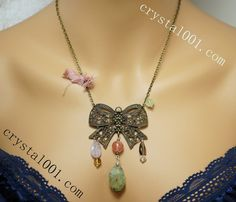 "100% natural gemstone necklace set handmade butterfly prehnite necklace earrings     Material: 100% Natural Prehnite    Necklace Length (inches): 18""~20''    Necklace material:  bronze      Quantity: 1pc    Accessory: Earrings for options.      Designer: crystal001.com  (Crystal Fairy USA)    Prehnite is a stone of unconditional love. It is said to connect to the archangel Raphael. Prehnite enhances inner knowledge, showing the path forward to spiritual growth through attunement to divine…"