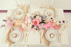 beautifully soft Floral centrepiece - love the touch of pale grey