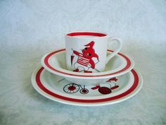 Mid Century Arabia Dinnerware Set / Vintage Arabia Circus Dining Set for Kids / Childrens Dishes on Etsy, $75.00