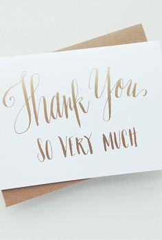 Creative Wedding Thank You Cards: Gold Cursive Lettering | Brides.com