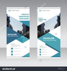 Blue Business Roll Up Banner flat design template ,Abstract blue Geometric banner design Vector illustration template set,