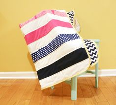 Modern Baby QUILT by PETUNIAS - navy white hot pink strip stripe blanket nursery decor vintage newborn shower gift room crib bedding. $89.00, via Etsy. LOVE the pink and navy together!! I need this!!!!!!