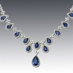 Exquisite Pear Shape Diamond and Sapphire Necklace- Perfect for something blue on your wedding day!