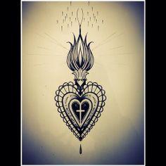 Engraving style sacred heart by Miss Sita @ One O Nine Barcelona… Baby Tattoos, Time Tattoos, New Tattoos, Jesus Tattoo, Sagrado Corazon Tattoo, Coeur Tattoo, Sacred Heart Tattoos, Sternum Tattoo, Henna Tattoo Designs