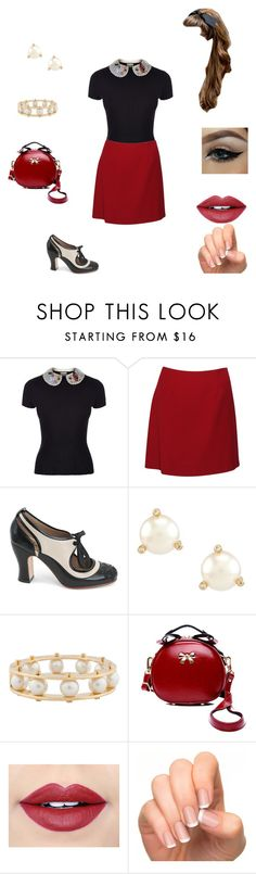 """""""Baby Brooke"""" by azariel-r ❤ liked on Polyvore featuring RED Valentino, Moschino, John Fluevog, Kate Spade, Lele Sadoughi, Fiebiger and Incoco"""