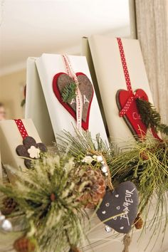 also like the idea of adding pretty wrapped gifts to garland, mantel, etc. Noel Christmas, Country Christmas, Christmas Crafts, Christmas Decorations, Christmas Ornaments, Felt Decorations, Creative Gift Wrapping, Creative Gifts, Wrapping Ideas