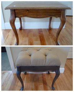 old table (like the legs!) repurposed into tufted bench