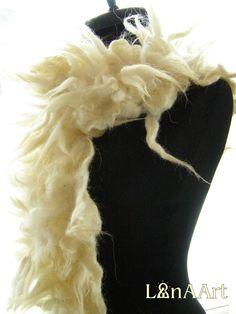 WILD WHITE artistic felt scarf of wool locks felted on merino base, 190x20 cm appr. created by Svetlana Kostova - LanAArt