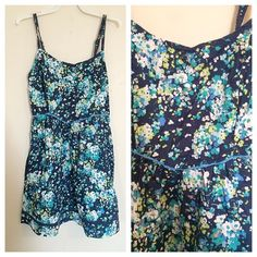 Aeropostale Floral Print Dress Excellent condition. Has two front pockets. Layered material. Cinched back. Size mediums but fits smaller. Aeropostale Dresses Mini