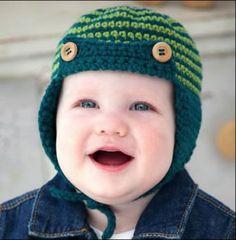 Baby Sherlock - Aviator Hat Crocheted