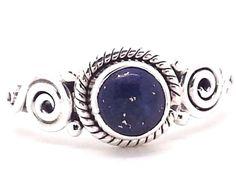 Lapis Lazuli & 925 Sterling Silver Boho Ring (+ Gift Bag) (UK Seller)