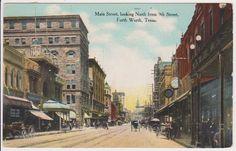 vintage fort worth texas postcards | OLD FORT WORTH, TX. VINTAGE POSTCARD - MAIN STREET - 1908