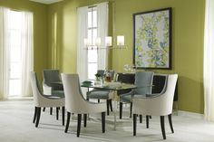 """Fresh pair: Townsend dining table in glass & stainless steel with Ada side and arm chairs in two-tone """"Inside/Outside"""" fabrication. www.mgbwhome.com"""