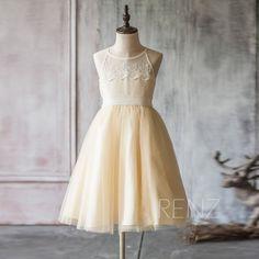 2016 Beige White Junior Bridesmaid Dress Spaghetti by RenzRags