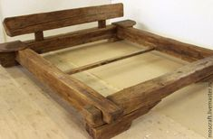 Old wood furniture has character. This bed of old wood beams (age approx. 300 years) with an appeali Bed Frame Design, Diy Bed Frame, Bed Design, Pallet Furniture, Furniture Plans, Rustic Furniture, Woodworking Bed, Woodworking Projects Plans, Wood Beds