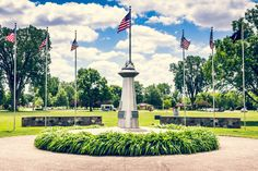 Located at the north end of Traxler Park, the Veterans Memorial Plaza contains numerous  memorial monuments including a Gold Star Mother Monument, Purple Heart Medal Monument, Medal of Honor Veterans Walkway, Vietnam War Memorial, Global War on Terrorism Memorial.
