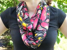 Floral Infinity Scarf Black Pink and Yellow by 4kids4Lord on Etsy, $15.00