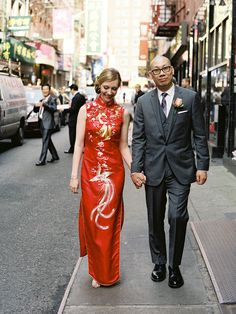 """{Says Carolyn, """"In honor of Vinny's heritage, we observed the traditional Chinese wedding customs of a grand dinner banquet and tea ceremony. I wore the customary red dress and we poured tea for all of our relatives."""" Snippet & Ink}"""