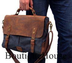 15 Brown Leather Canvas Messenger Bag Leather door BoutiqueHouse, $59.99