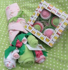 Unique Baby Shower Gift, Baby Girl Clothing Bouquet & Baby Cupcake Layette Gift Set, Gift Basket with Onesies, Socks, Washcloths and More