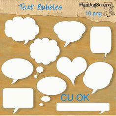 There are 10 different text bubbles to spice up your layouts  Shadows shown in preview are NOT included  Commercial Use OK and in all my stores