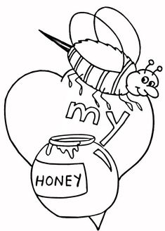 Valentines Day Bee My Honey Coloring Page : Coloring Sky Online Coloring Pages, Colouring Pages, Coloring Sheets, My Honey, Have Some Fun, Coloring Pages For Kids, Valentines Day, Folk, Bee