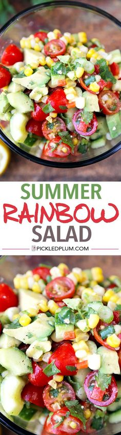 Summer Rainbow Salad - Bright, refreshing and so healthy! This summer rainbow salad takes less than 15 minutes to make from start to finish! Recipe, vegan, gluten free, salad, healthy, appetizer