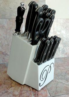 DIY Monogram Knife Block | LiveLoveDIY If I had a knife block - it would be groovy like this.