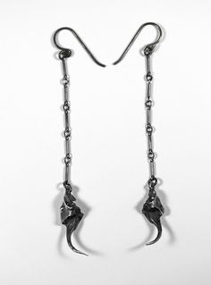 bloodmilk: the light and the dark. rattlesnake fang earrings in sterling silver. Gothic Earrings, Gothic Jewelry, Fantasy Jewelry, Piercings, Bone Jewelry, Jewelry Armoire, Silver Bars, Anklets, Jewelery