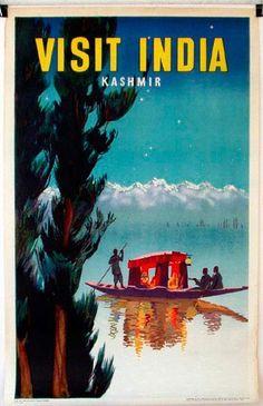 DP Vintage Posters - Visit India Kashmir Pole Boat, Original Vintage Travel…