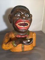 Antique Black Americana Cast Iron Jolly  N   Bank