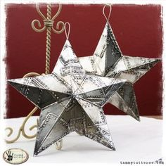 Tammy Tutterow: Sizzix Primitive Star http://tammytutterow.com/2012/11/tuesday-tutorial-riveted-metal-3d-stars/#